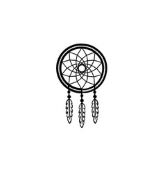 dreamcatcher hand drawn sketch icon vector image