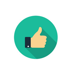 flat like icon thumb up symbol with shadow finger vector image