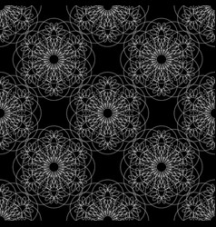 flower mandala linear graphics seamless pattern vector image
