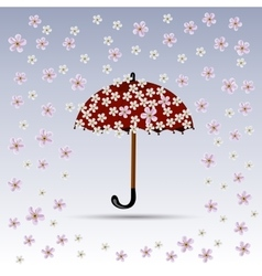 Flowers are falling on red umbrella vector