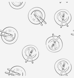 Fork and knife on empty plate seamless pattern vector