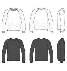 Front back and side views of blank raglan long vector