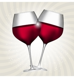 Full Glass of Red Wine on Swirl Background vector image