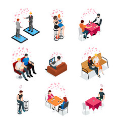 Gay dating isometric compositions vector
