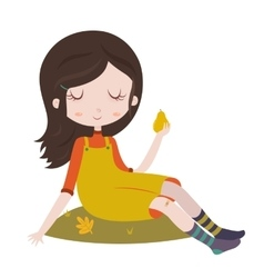 Girl in overalls sitting on grass Autumn vector