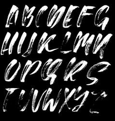 Hand drawn font made dry brush strokes modern vector