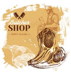 hand drawn sketch meat butcher shop background vector image