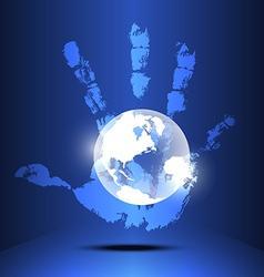 Hand engulf world vector