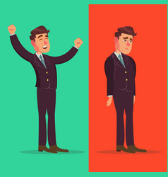Happy and unhappy businessman good and bad vector