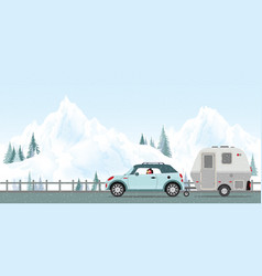 happy couple driving car on road in winter vector image