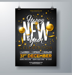 Happy new year party celebration poster template vector