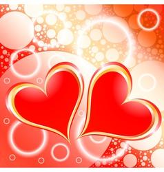 Hearts Shiny Holiday Background vector image