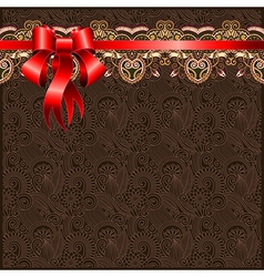 Holiday floral background with red ribbon EPS10 vector