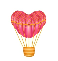 Hot air heart shaped balloon on white vector