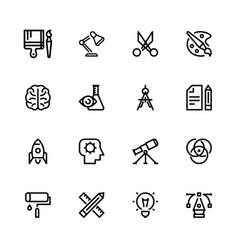 Icons creativity black linear vector