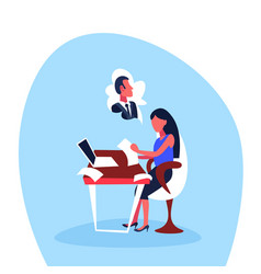 infatuated businesswoman sitting office workplace vector image