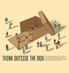isometric group business people think outside box vector image