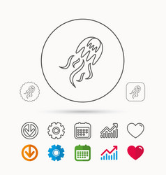 Jellyfish icon marine animal sign vector