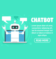 laptop chatbot concept banner flat style vector image