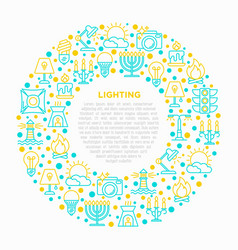 lighting concept in circle with thin line icons vector image
