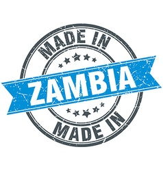 made in Zambia blue round vintage stamp vector image