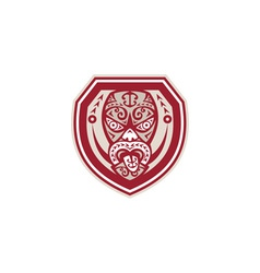 Maori mask tongue out shield retro vector