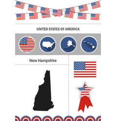 Map of new hampshire set of flat design icons vector