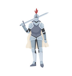 medieval knight standing in armor cloak vector image