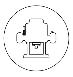 milling cutter icon black color in round circle vector image