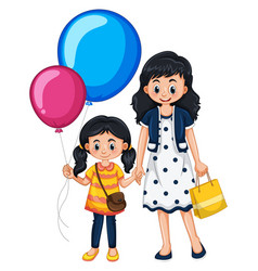 mother and daughter with balloons vector image