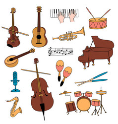 Musical instruments guitar flute cello violin vector
