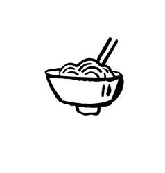 noodles icon ggrunge ink brush vector image