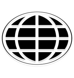 Oval shaped wire-frame globe editable vector