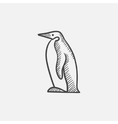 Penguin sketch icon vector image
