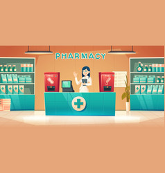 Pharmacy with pharmacist woman at counter desk vector