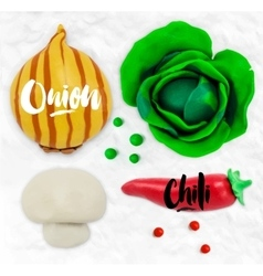 Plasticine vegetables onion vector