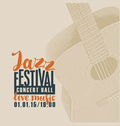 poster for jazz festival of live music with guitar vector image