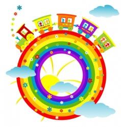 Rainbow toy train vector