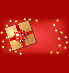 red bow gift box and lights realistic vector image