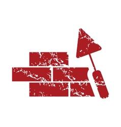 Red grunge building logo vector