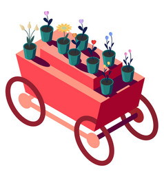 Red truck with flowers in isometry flowers in pots vector