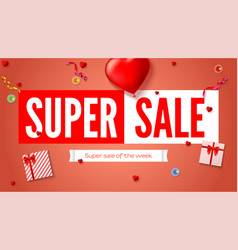 Sales poster with text design and holiday gifts vector