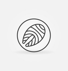 Salmon or trout steak in circle outline icon or vector