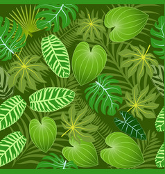 seamless background of summer tropical leaves vector image