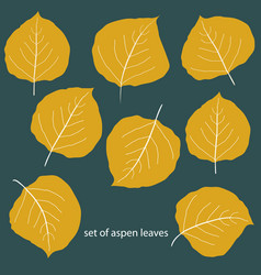 Set eight differently shaped golden vector
