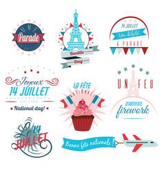 set happy bastille day greetings card design vector image