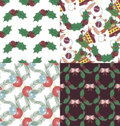 Set of christmas seamless patterns vector
