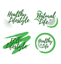 set of eco and natural life label healthy vector image