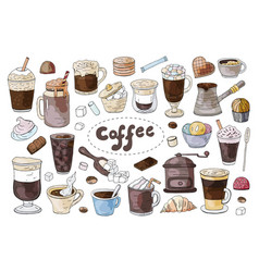 Set of hand drawn different types of coffee on the vector