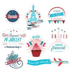 set of happy bastille day greetings card design vector image